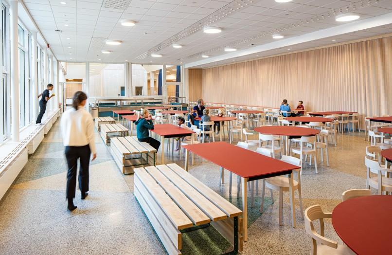 Bobergsskolans dining room, designed by Max Arkitekter.