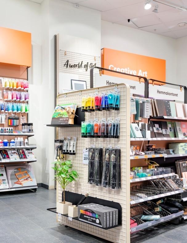 Detalj av butiksdesign och butikskoncept i Panduro i Stockholm.
