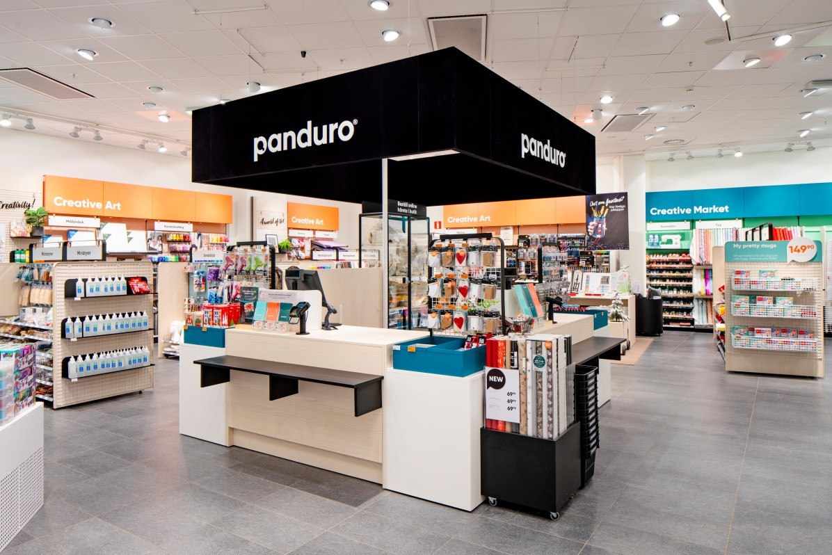 New designed store concept for Panduro in Sickla Köpkvarter. Photographed by interior photographer Mattias Hamrén.