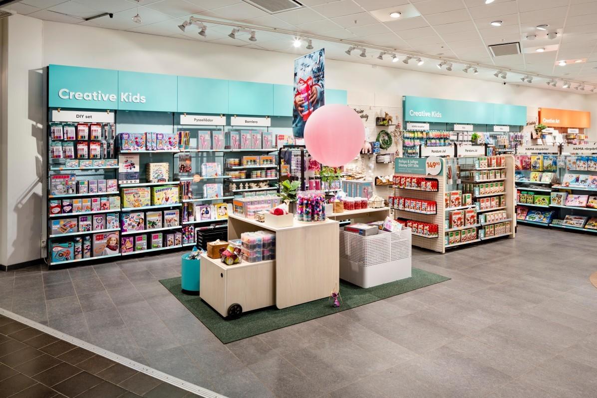 Interiörfotograf Mattias Hamrén har fotograferat butiken Panduro i Sickla Köpkvarter.