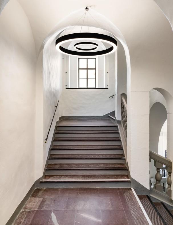 Stockholm City Museum staircase. Photographed by architectural photographer Mattias Hamrén.