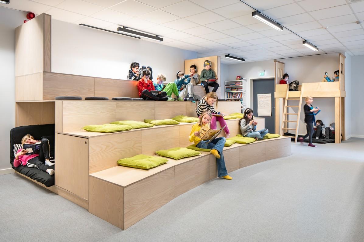 Interiör av designbyrån Wolfgang i Skapaskolan i Huddinge.