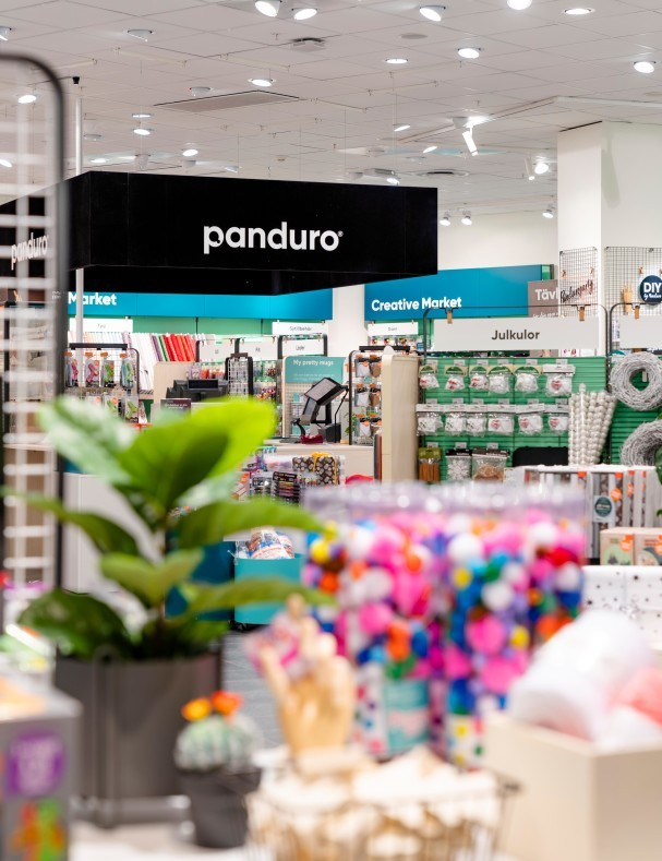 Detail of the interior and logo in the Panduro store in Sickla Köpkvarter.
