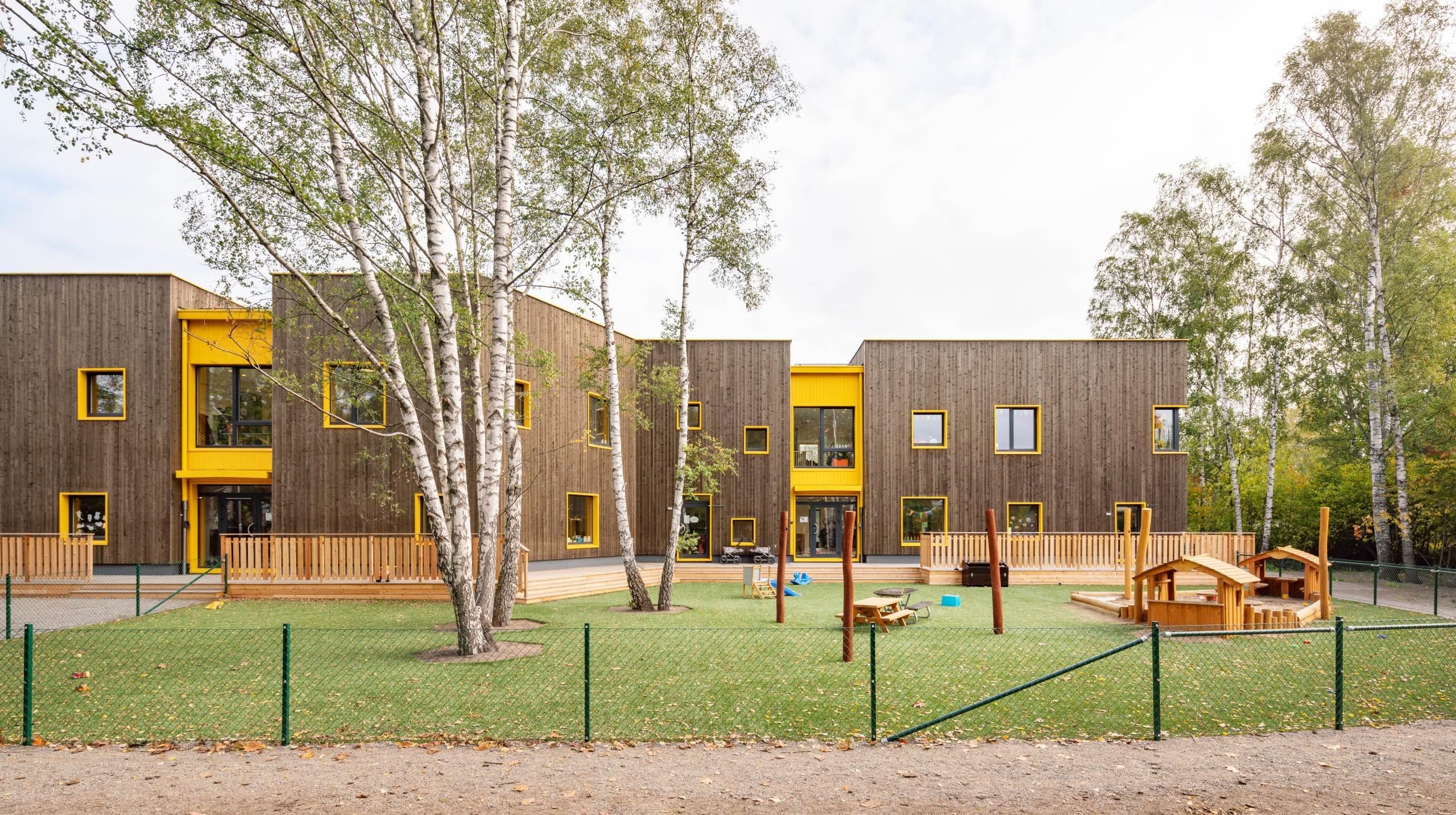 Förskolan Solängen i Huddinge, fotograferat av arkitekturfotograf Mattias Hamrén.