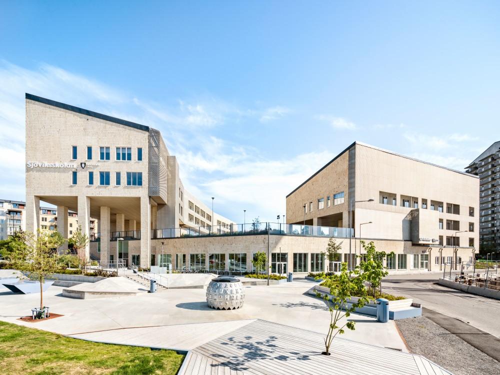 Sjöviksskolan i Årstadal av Max Arkitekter, fotograferad av arkitekturfotograf Mattias Hamrén.Sjöviksskolan in Årstadal by Max Arkitekter, photographed by architectural photographer Mattias Hamrén.