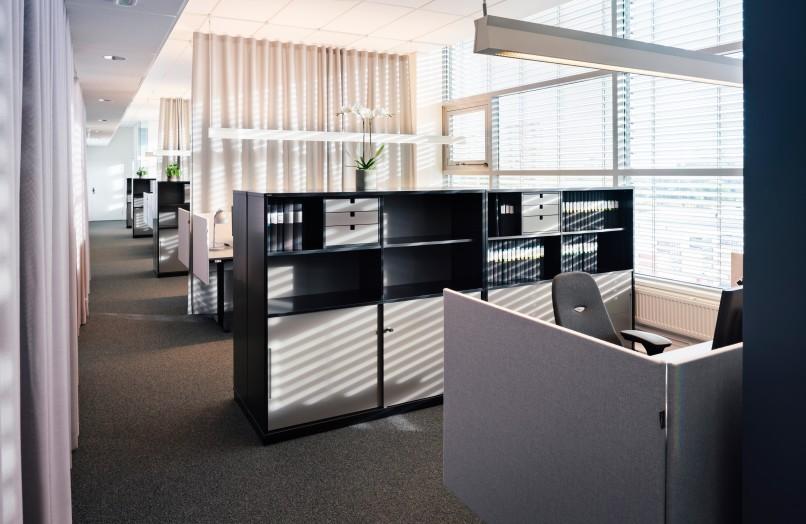 Office desks at a modern office
